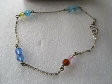 "VINTAGE SILVER MULTI GLASS STONE 11"" ANKLET"