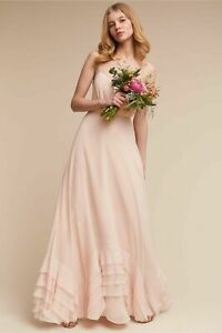 BHLDN Watters & Watters Dove Boho Ice Pink Maxi Delicate Bridesmaid Dress Size 4