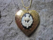 SCOTTISH THISTLE GOLD PLATED HEART LOCKET - UNIQUE - HANDMADE - CELTIC -SCOTLAND