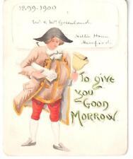 1899-1900 ORIGINAL HAND-PAINTED ART NEW YEAR CARD TOWN CRIER SCROLL BELL
