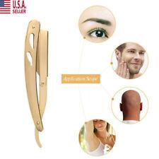 Straight Barber Edge Staninless Razor Folding Shaving Knife+10 Dorco Blades Gold
