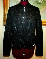 INC INTERNATIONAL CONCEPTS BLK SEQUINED PEPLUM ZIP FT SLEEVES LINED JACKET SZ M