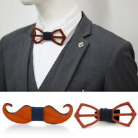 Men's Funny Wooden Beard Bow Tie Wood Bowtie Neck Tie Wedding Party New