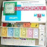 Vintage 1961 Monopoly Parker Bros. Real Estate Board Game 100% Complete EXC cond