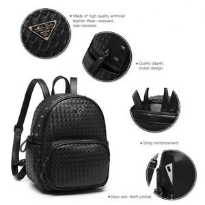 Black Women Medium Shoulder Bag Ladies Weave Detail Skull Faux Leather Backpack