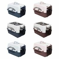 Pet Carrier White & Grey/Brown Small Large Dog Cat Puppy Travel Cage Crate