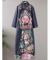 Womens Retro Long Dresses Chinese Style Qipao Ethnic Cotton Lined Embroidery New