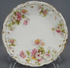 Bawo & Dotter Limoges Pink Yellow & White Flowers Double Gold Plate Circa 1900