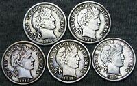 1901-O +1911-D +1912 +1914 +1916 Barber Dimes Silver ---- NICE LOT ---- #F091