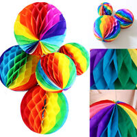 Rainbow Honeycomb Balls Tissue Paper Garland Pom Lantern Wedding Hanging Decor