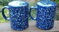 OTAGIRI  BLUE  SPACKLE  LARGE  HANDLED  SALT AND PEPPER SET  Excellent Condition