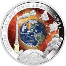 Cook 2009 $1 1969 - First Man On The Moon 40 Years Ann. 1 Oz Silver Orbital Coin