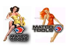 MATCO TOOLS SET of 2 STICKER YP GLOSSY DECALS TOOL BOX SEXY PINUP GIRLS TINS USA