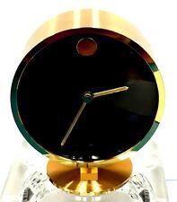 VINTAGE MOVADO BRASS DESK CLOCK by HOWARD MILLER GERMANY >> VERY NICE > WORKING