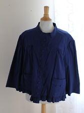 Motto -Sz 2X Soft Blue French Ruffled Button Funky Feminine Jacket Cotton