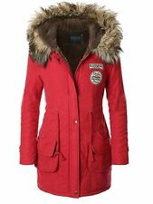 iLoveSIA Womens Hooded Warm Coat Parka Slim Winter Jacket Red XXL Army