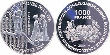 2004 Cameroon(+Chad,Congo,Gabon,Guinea)Large Silver Proof 1000F-Soccer World Cup