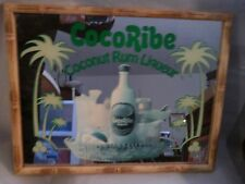 BREWERIANA BAR SIGN MIRRORED COCORIBE COCONUT RUM LIQUEUR BAMBOO FRAME MADE-USA