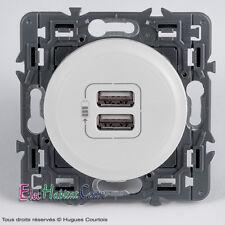 Double prise chargeur USB céliane Legrand blanc 67462+68256+80251