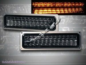 88-98 GMC CHEVY C10 C/K FULL SIZE LED PARKING SIGNAL LH+RH BUMPER LIGHTS SMOKE