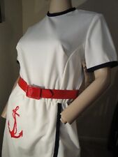 VTG NWT 60's Nautical Embroidered Anchor Rockabilly Sailor Pinup Day Dress 10