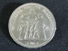 Piece de 5 Francs HERCULE de 1873 monté en broche