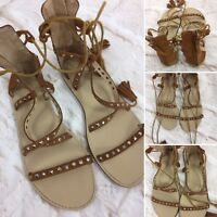 Witchery Size 35 - 6 Brown Leather Suede Strappy Sandals W Studs & Tassled Ties