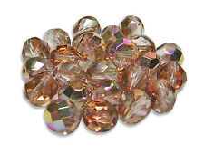 8mm Crystal Copper Galaxy Czech Glass Firepolished Round Beads (25) #3479