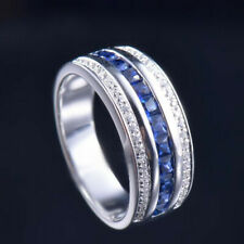 Natural Blue Sapphire Diamond Engagement Men Band Ring Solid 14K White Gold