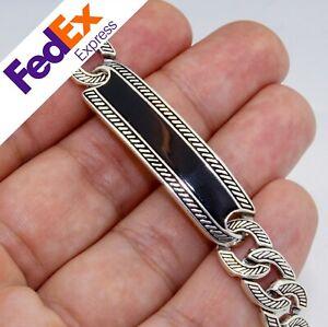 Motif Cuban Link 925 Sterling Silver Onyx Stone Men's Bracelet
