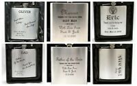 Personalised WEDDING Hip Flask + Silk Gift Box Best Man/Usher/Dad/Groomsman/Dad