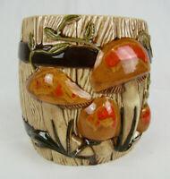 Vintage Ceramic Mushroom Design Flat Back Planter / Utensil Holder Arnel's 1978