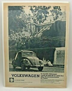1960s VOLKSWAGEN BEETLE - French Language Magazine Print Ad Chartres Cathedral