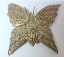 Old Gorgeous Butterfly Pin Brooch Silver Tone Signed Spain Rare
