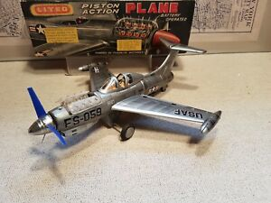 Vintage Nomura Showa Lited Piston Plane Tin Plate Toy Japan 1950s Boxed **Rare**