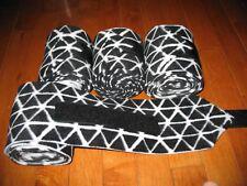 New set of 4 black/white triangle horse polo wraps (horse/pony leg wraps)