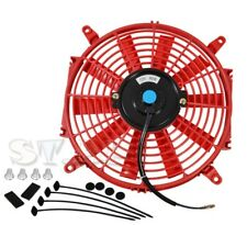 """Jdm 9"""" Inch Radiator Fan Thin Electric Cooling 12V 1500Cf Red+Mounting Kit"""