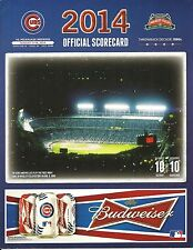Milwaukee Brewers Chicago Cubs 2014 Official Scorecard Javier Baez Anthony Rizzo