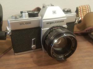 Vintage Argus Cosina STL1000 50mm 1.7 Cosinon 35mm SLR film 2 straps