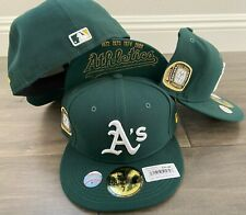 New Era cap Oakland A's Athletics TITLE TRIM hat fitted 59fifty 5950 GREEN RARE