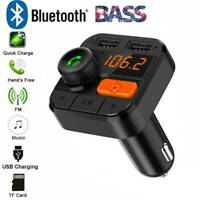 Wireless Bluetooth Dual USB Car Charger FM Transmitter Subwoofer Key MP3 Player