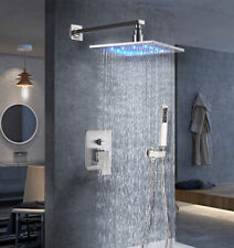 "LED Light Brushed Nickel 12"" Rain Shower Faucet Head Set Tub Mixer Tap Valve Tap"
