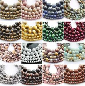 "4mm/6mm/8mm/10/12mm 1 strand 15"" Round Natural Gemstone Stone Beads DIY  Jewelry"