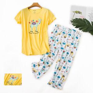 Women's Sleepwear 2-Piece Pajama Set Soft Top and Printed Capri Pants Nightwear