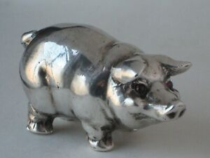 Vintage Russian 88 Silver Miniature Pig Figure I.P.