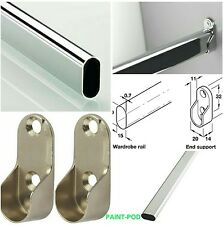 WARDROBE RAIL OVAL CHROME HANGING Clothes RAILS 700mm &  2 END SUPPORTS  70cm