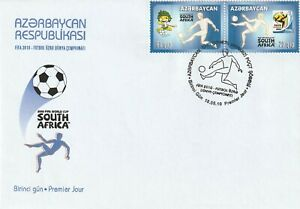 AZERBAIJAN 18 MAY 2010 WORLD CUP BOTH COMMEMORATIVE STAMPS FIRST DAY COVER