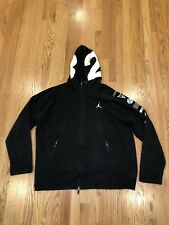 Nike Air Jordan men's black 3XL zip up hoodie Shoes Graphic Logos VII XI XII