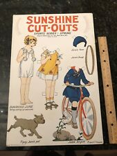 Antique 1926 Rare Oversized Uncut Sunshine Cut Outs Paper Dolls Sports Series