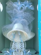 Vintage Wedding Cake Bell Flower Topper blue details 70's
